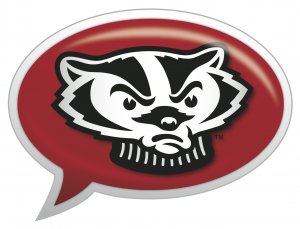 The Ask Bucky Logo: A photo of Bucky in a speech bubble
