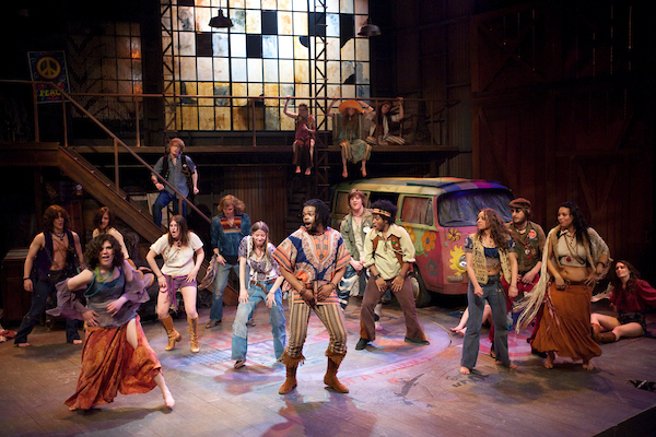 "Student cast members perform during a cast-in-full-costume stage rehearsal for the upcoming University Theatre production of the musical ""Hair"" at the University of Wisconsin-Madison on April 13, 2009."