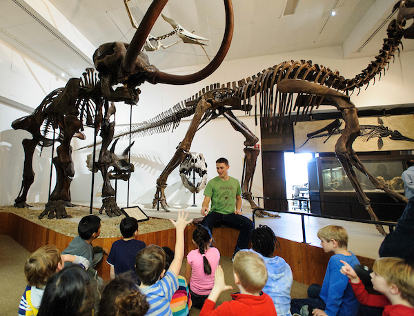 Undergraduate and staff tour guide Michael Schiltz talks with first-grade students about bone fossils and replicas of several dinosaur skeletons on display at the Geology Museum at the University of Wisconsin-Madison.