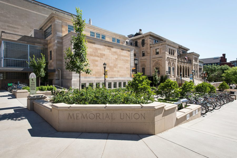The exterior of the Memorial Union at the University of Wisconsin-Madison is pictured during spring