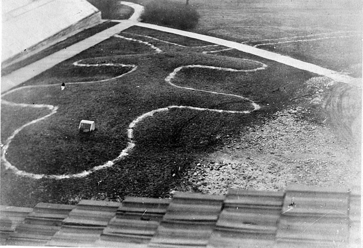 Historical photo of effigy mounds outline