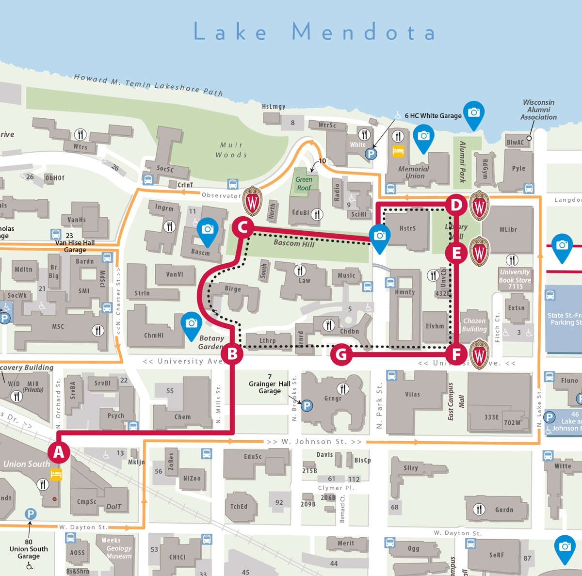 Map of UW–Madison campus showing tour route